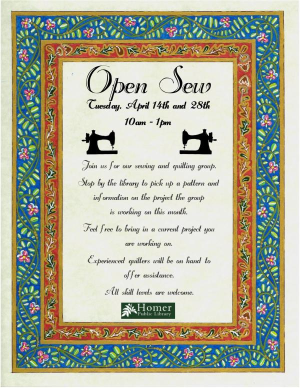 Open Sew, Tuesday April 14th and 28th, 10am-1pm