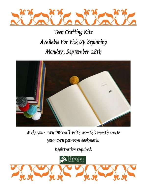 Teen Crafting Kits, Available For Pick Up Beginning Monday, September 28th, Registration Required